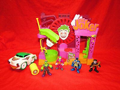Imaginext BATMAN Joker's Laff Factory playset with 4 figures & JOKER CAR! EUC