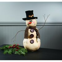 Primitive Country Folk Art Christmas Mr. Buttons Snowman Doll Top Hat 18