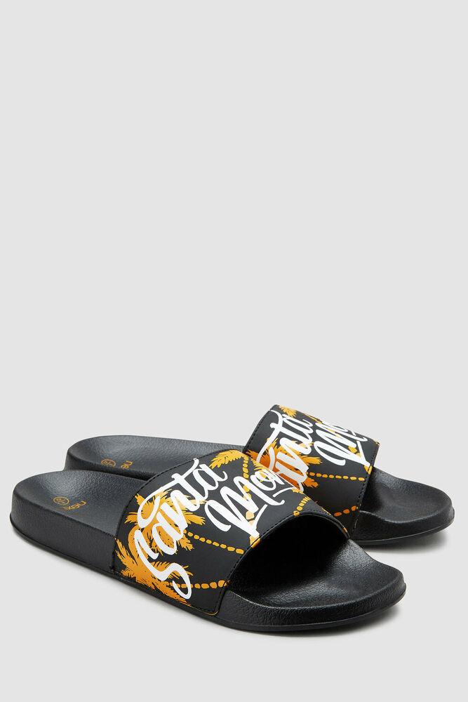 Nouveau Next Slogan Imprimé Slider Sandales Noir Homme Taille 8 Eur 42