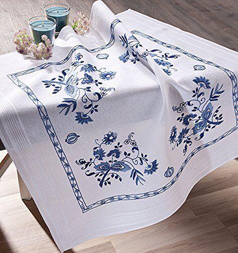 Stickpackung BLUMEN IN BLAU Spannstich vorgezeichnet Baumwolle Stickdecke 80x80