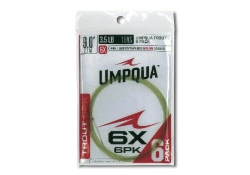 UMPQUA 6 PACK TROUT TAPER 9/' FT 4X 6.0 LB NYLON LOOPED FLY FISHING LEADER