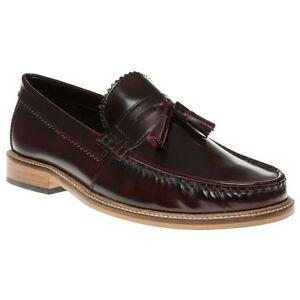 New-Mens-Lambretta-Maroon-Tassle-Loafer-Leather-Shoes-Loafers-And-Slip-Ons-On