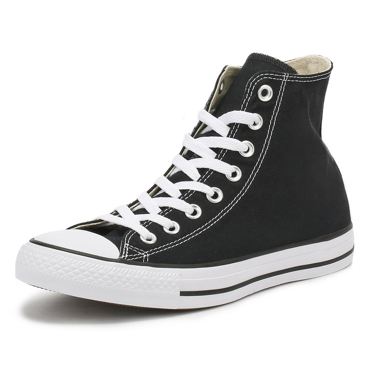 Converse Mens Womens Unisex Black All Star Trainers Unisex Womens Hi Tops Canvas Sneakers 8c5cc2