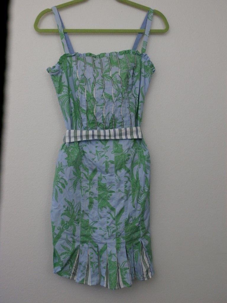 Robert Graham Dress Women XS Floral Floral Floral Sundress Stripes Cotton Fitted bluee Green 4dcbaa