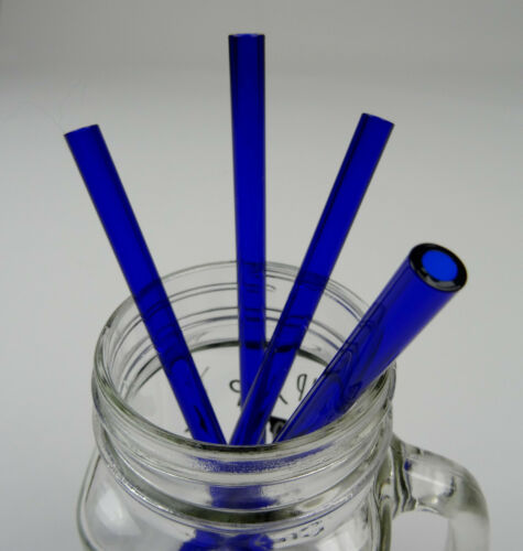5er Set GLAS STROHHALM Trinkhalm Glastrinkhalm Getränke Halme gerade blau Bürste