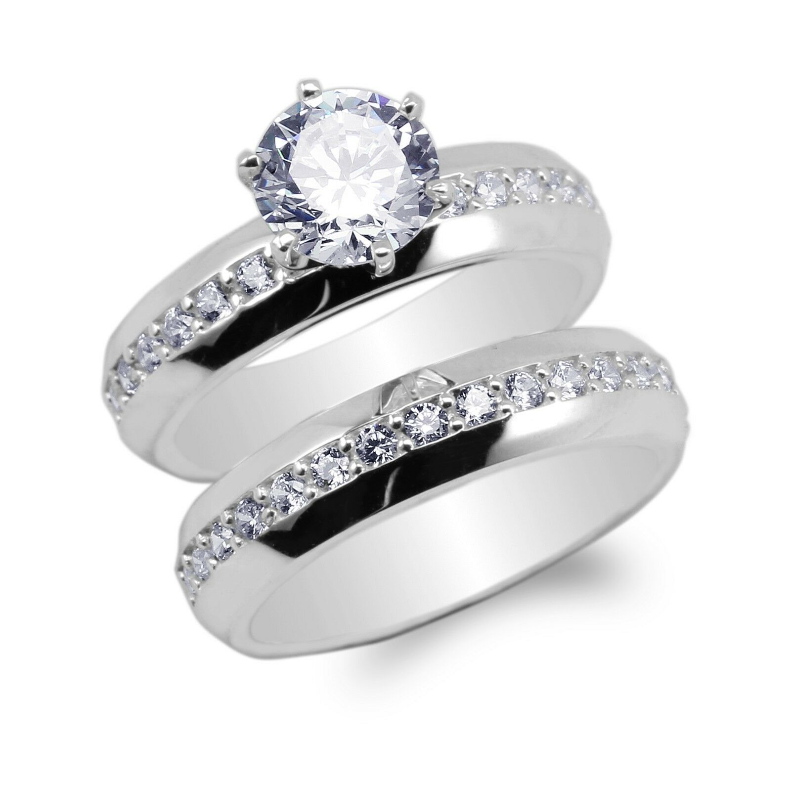 JamesJenny 10K 14K White gold Duo Set Round CZ Engagement Simple Ring Size 5-10