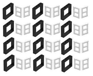 LEGO-LOT-OF-12-NEW-BLACK-1-X-4-X-3-WINDOWS-W-White-Panel-Pane-TOWN-CITY-HOUSE