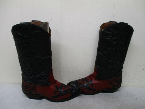 Flings Sundance Red Black Leather Cowboy Boots Wom