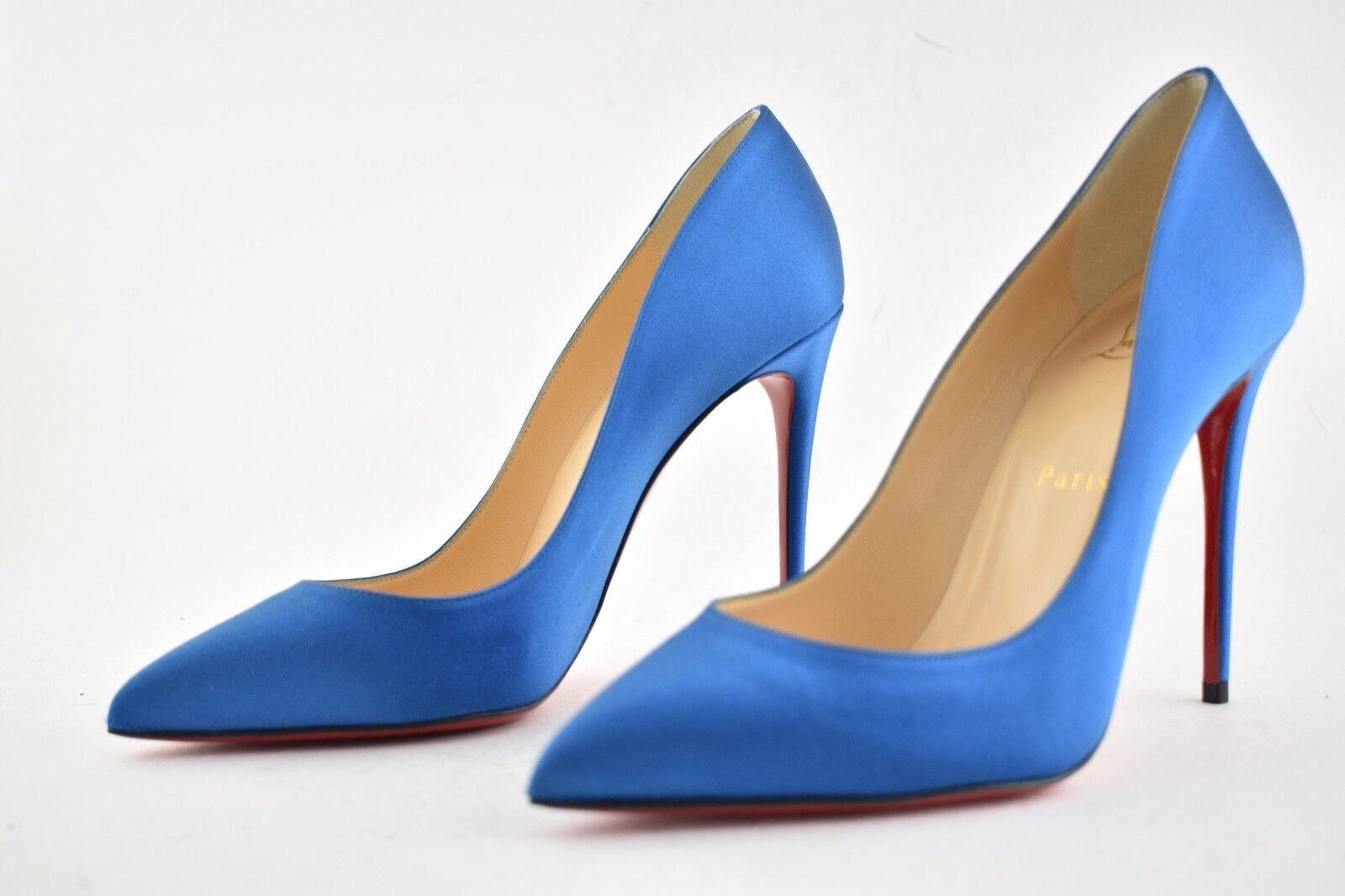 NIB Christian Louboutin Pigalle Follies 100 100 100 bluee Positano Satin Heel Pump 36.5 c1b57e
