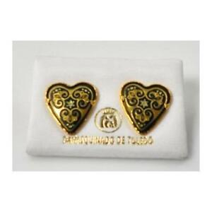Damascene-Gold-Heart-Star-of-David-Design-Stud-Earrings-by-Midas-of-Toledo-Spain