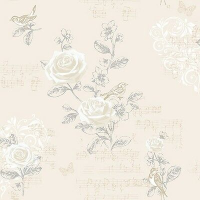 BEIGE JENNY WREN BIRDS ROSE FLOWER COLOROLL FEATURE DESIGNER WALLPAPER M0834