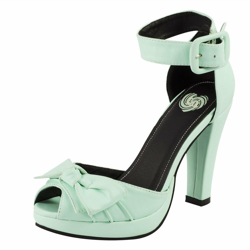 T.U.K. Starlet Bow Mint Green Retro Pin Up High Heel Peep Toe Ankle Strap Schuhes