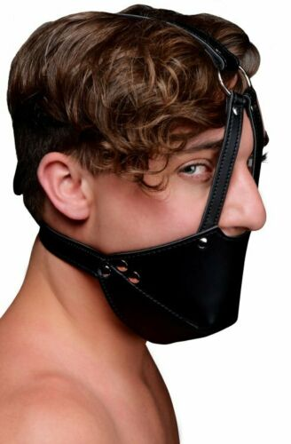 Strict Mouth Harness Muzzle with Ball Gag Mask Bondage PU Vegan Leather Adult Si