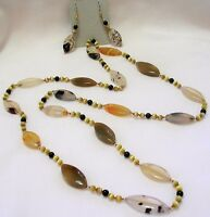 34 Hand Knotted Montana Moss Agate Gemstone Beaded Necklace & Earring Set Wow