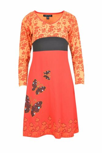 Women/'s Long Sleeve Cotton Dress Butterfly Embroidery Evening Dress