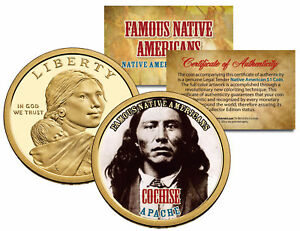 Details about COCHISE *Famous Native Americans* Sacagawea Dollar Colorized  Coin APACHE Indians