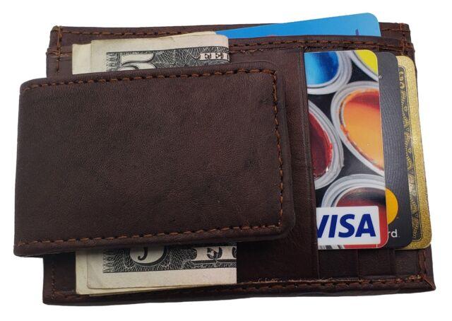 299c46b0026a A&G Men's Leather Money Clip Wallet, Brown
