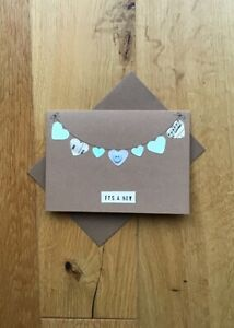Button And Bunting It/'s A Boy Handmade New Baby Card