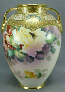 Nippon-Hand-Painted-Pink-Yellow-Roses-Gold-Moriage-Pink-amp-Turquoise-Jeweled-Vase