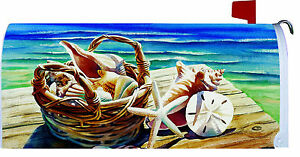 SHELL BASKET Starfish BEACH Shore OCEAN Custom Decor MAILBOX COVER USA Made