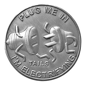 Man Humor Plug Me In Head & Tail Lucky Heads Tails Challenge Coin CM US FAST S/H