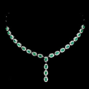 Unheated-Oval-Emerald-5x4mm-Cz-14K-White-Gold-Plate-925-Sterling-Silver-Necklace