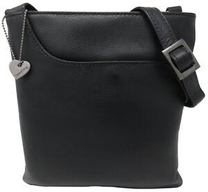 Details zu schicke Leder Tasche MADISON Schwarz Damen Handtasche Designer Umhängetasche