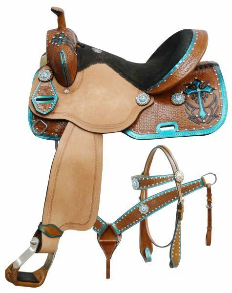 Double T  barrel style saddle set with metallic teal painted cross 14 , 15 , 16
