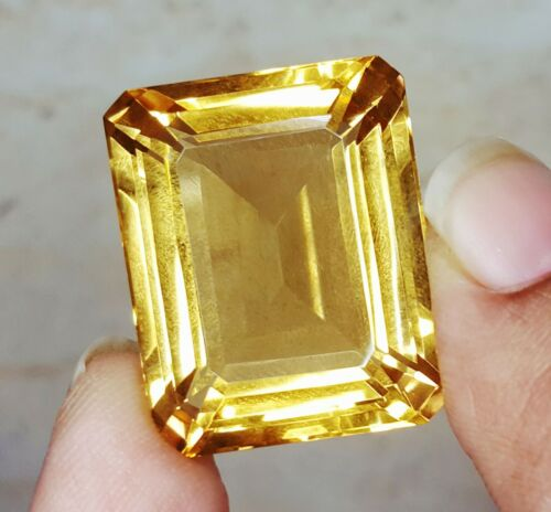 Loose Gemstone Natural Citrine Emerald Shape Certified 45 To 50 Cts