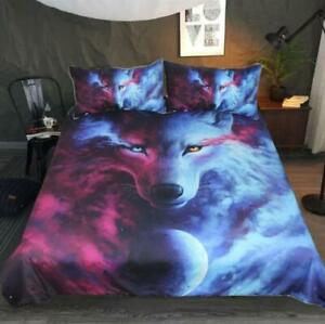 3D Planet Wolf ZHUA1123 Bed Pillowcases Quilt Duvet Cover Set Queen King Zoe