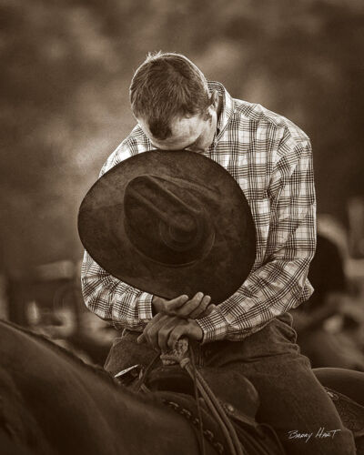 Praying Cowboy by Barry Hart Horse Prayer Pray Poster 11x14 WESTERN ART PRINT