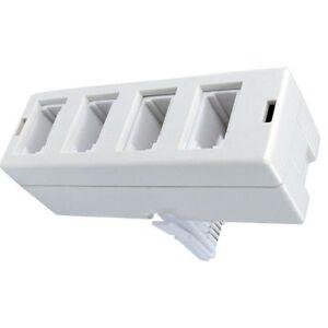Bt Uk Téléphone Socket Point Quad 4 Sens Adaptateur Séparateur Quatre 4 En 1 Blanc-afficher Le Titre D'origine