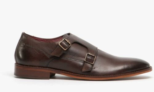 Base London MONTAGE Mens Genuine Smooth Soft Leather Smart Monk Strap Shoes