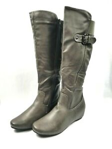 Size 9 Gray Wide Calf Riding Boots