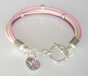 Kinder-Armband-Leder-rosa-lachs-pink-Herz-Lederarmband-Kinder-Schmuck