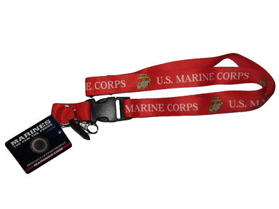 RAM USMC Marine Corps Red//Yellow Letter Printed Lanyard W// Detachable Key Ring
