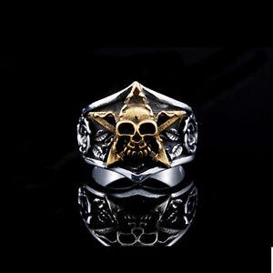 18K-Gold-GP-316L-Stainless-Steel-Punk-Classic-Star-Skull-Rose-Ring-BR308-Sz-7-13
