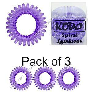 KODO Spiral Hair Bobble Pack of 3 LUMINOUS PURPLE Invisible Hair ... f475f79bac7