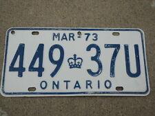 1973 ONTARIO CANADA License Plate 449 37U Can