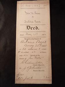 Antique PROPERTY DEED 1888 ANTOINE BOREL & GEO. H. RISE SAN MATEO CA