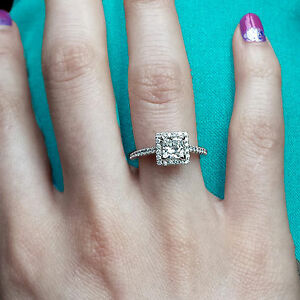 104Ct Diamond Ring Solitaire 14K White Gold Engagement Ring Ebay