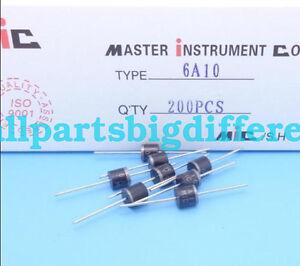 100pcs 6A10 6 Amp 1000V 6A 1KV Axial Rectifier Diode