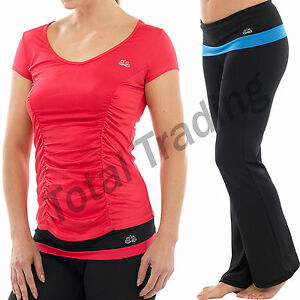 Ladies-Fitness-Yoga-Pants-Top-T-Shirt-Gym-Exercise-3-4-Bottoms-Pilates-Training