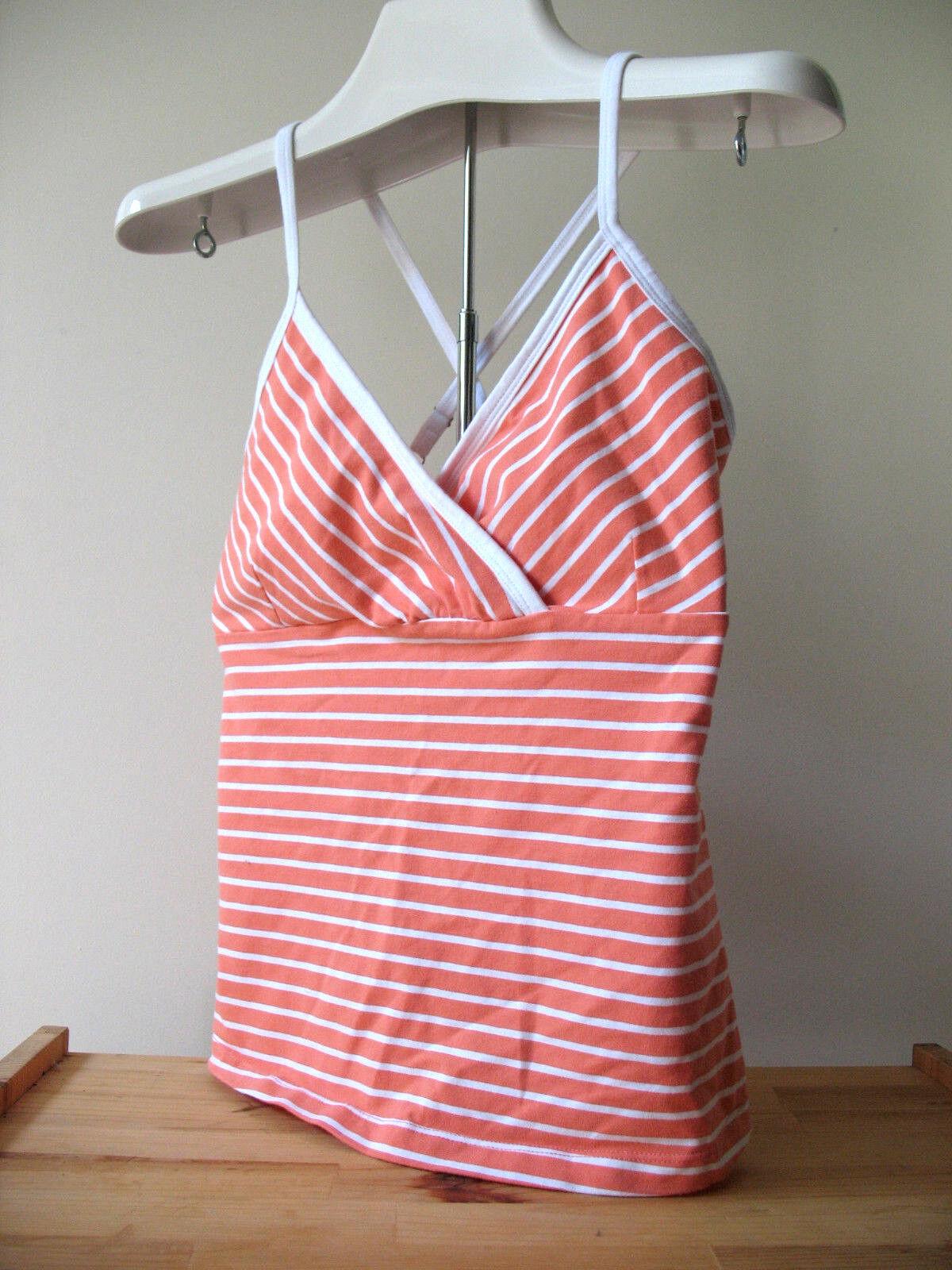 NEW Marika Sexy Stripe Criss Cross Coral orange White Cotton Yoga Knit Top L  54