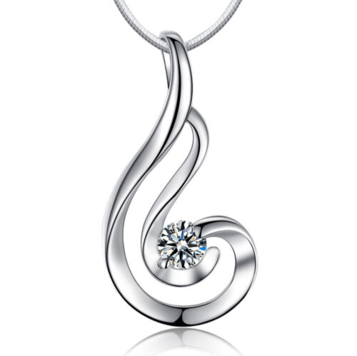 Twisted Pendant 925 Sterling Silver Chain Necklace Womens Ladies Jewellery Gift