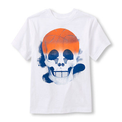 7-8 SIZE:M Boys or Girls Short Sleeve Basketball Skull Graphic Tee Brand New