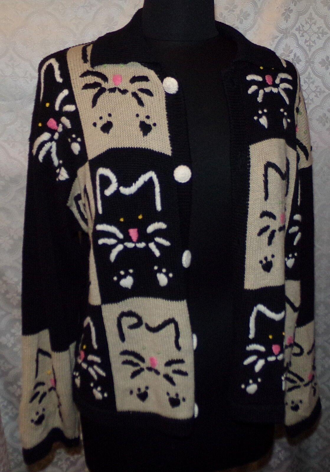 Janes Closet Novelty Cat Print Cardigan Sweater L Womens Kitty Crazy Cat Lady