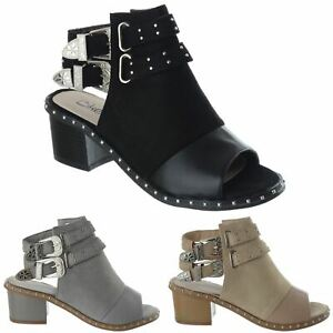 Womens-Ladies-Studded-Peep-Toe-Ankle-Strap-Chunky-Block-Heel-Sandals-Shoes-Size