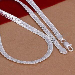 5mm-925-Sterling-Silber-Halskette-Kette-20-034-zoll-Mode-Maenner-Frauen-KS