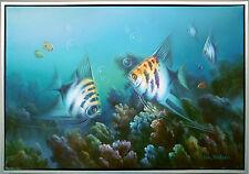 Skalar, Paar Unterwasserwelt Ölgemälde Leinwand 60 x 90 cm Lars Nielsen Dänemark